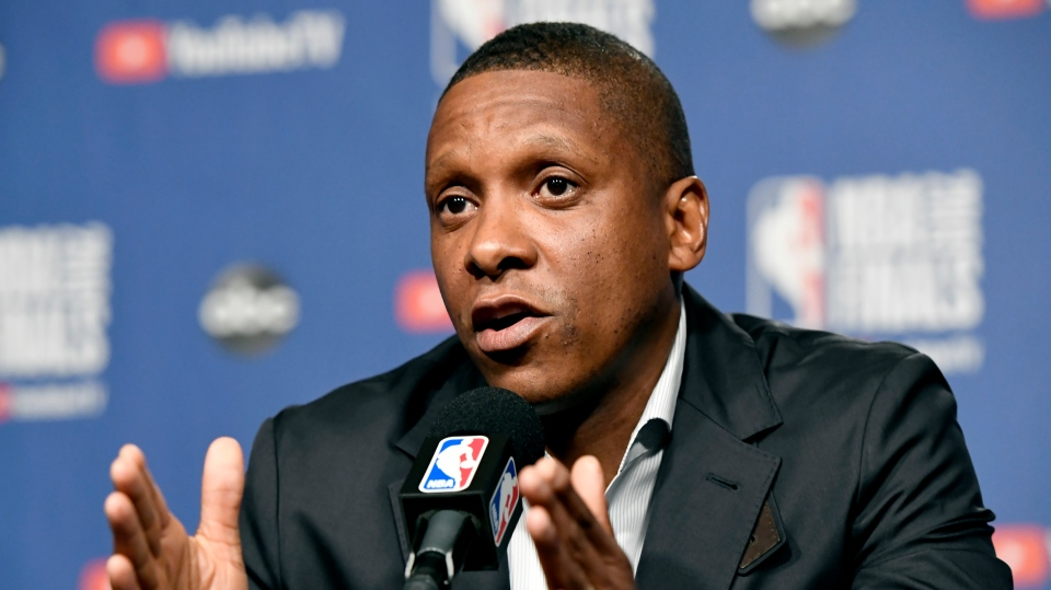 Toronto Raptors general manager Masai Ujiri speaks to media during an availability in the lead up to tomorrow's NBA Final game 1 against the Golden State Warriors, in Toronto on Wednesday, May 29, 2019. (THE CANADIAN PRESS/Frank Gunn)
