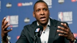 Toronto Raptors general manager Masai Ujiri speaks to media during an availability in the lead up to tomorrow's NBA Final game 1 against the Golden State Warriors, in Toronto on Wednesday, May 29, 2019. THE CANADIAN PRESS/Frank Gunn