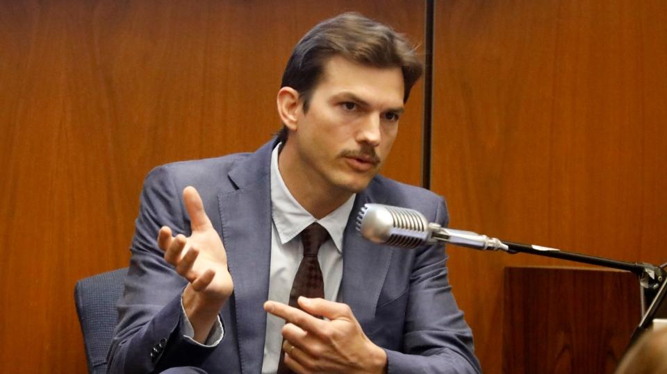 Ashton Kutcher testifies in the murder trial of Michael Gargiulo in Los Angeles Superior Court, Wednesday, May 29, 2019. (Genaro Molina/Los Angeles Times via AP, Pool)