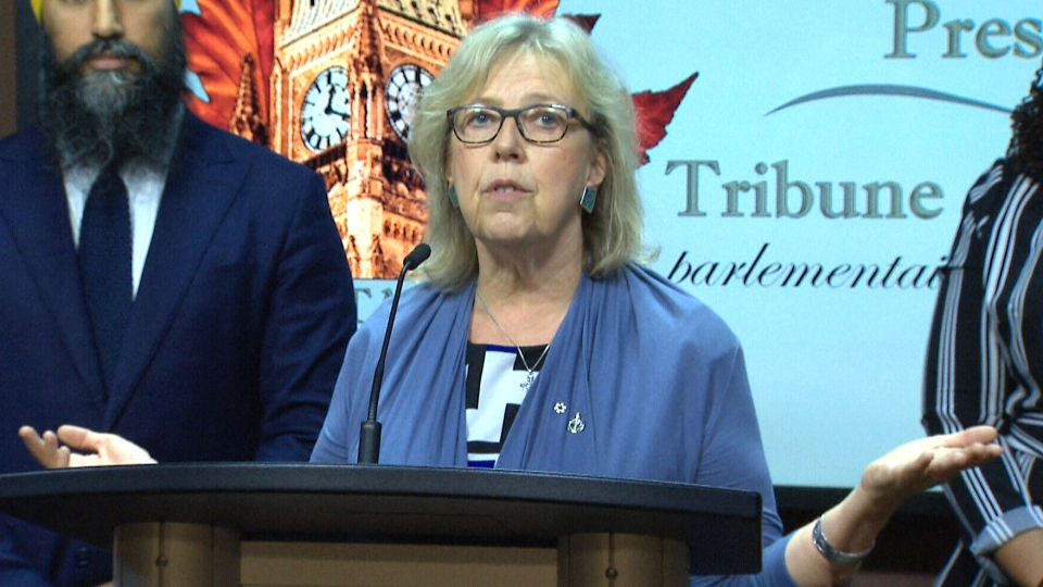 NDP and Green Party leaders Jagmeet Singh and Elizabeth May committed Wednesday to a debate on women's issues organized by a coalition called Up For Debate. (CTV)