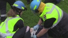 Emergency responders work at the scene of a mock disaster at Fanshawe College in London, Ont. on Wednesday, May 29, 2019. (Gerry Dewan / CTV London)