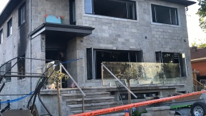 An arsonist set fire to a Cote St-Luc home on Wed., May 29, 2019. (Photo: Matt Grillo/CTV Montreal)