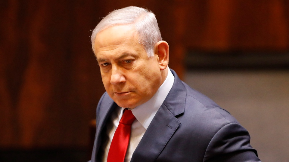 Israeli Prime Minister Benjamin Netanyahu before voting in the Knesset, Israel's parliament in Jerusalem, Wednesday, May 29, 2019. (AP Photo/Sebastian Scheiner)