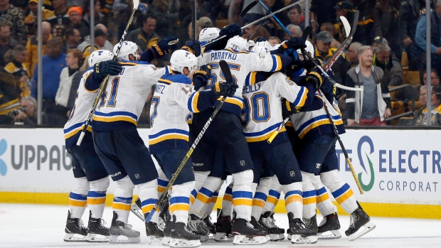 27ad8cceb Blues beat Bruins 3-2 in OT, tie Stanley Cup at game apiece | CTV News