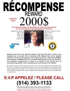 $2,000 reward for Donna Paré