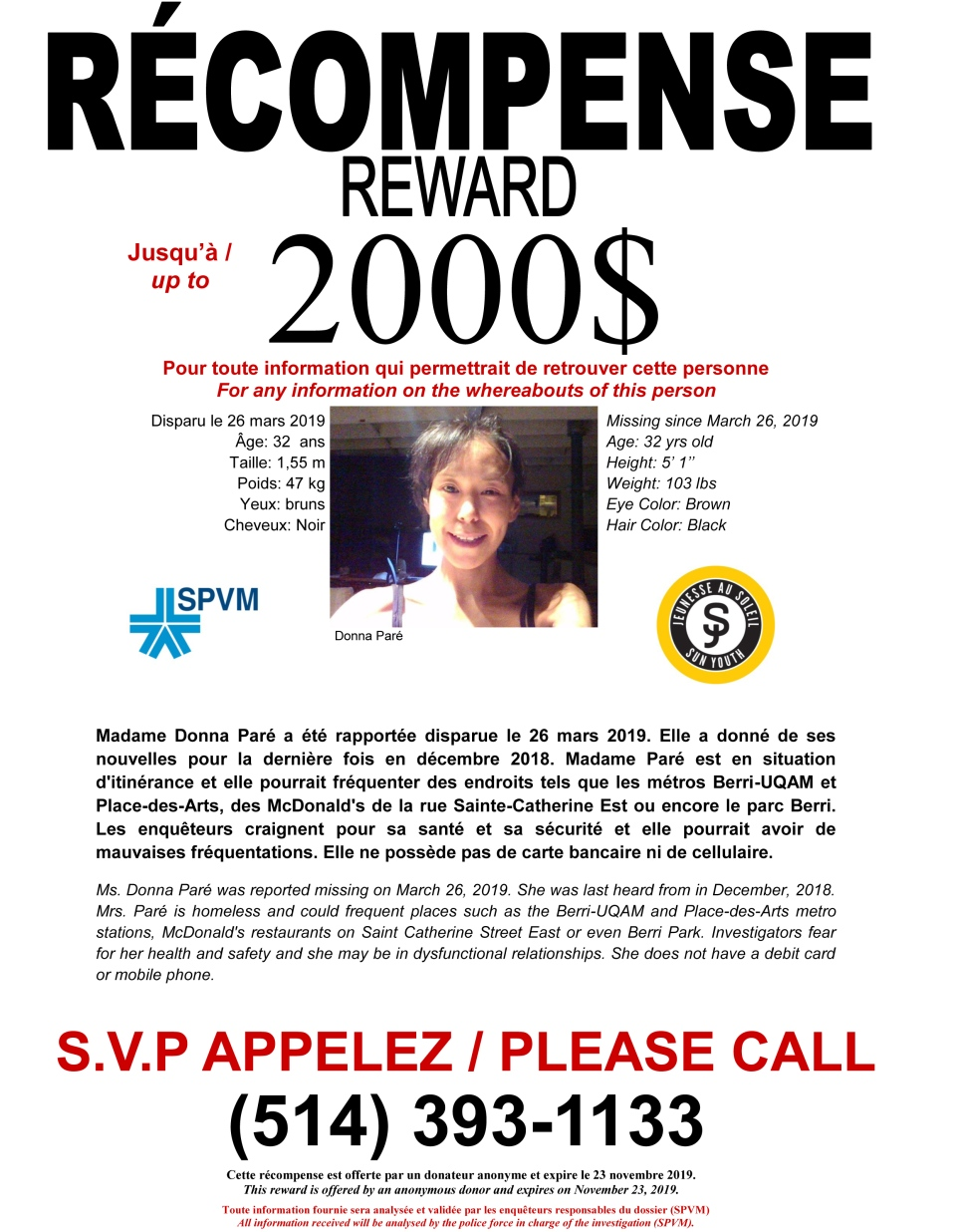 A $2,000 reward is being offered for information about Donna Paré