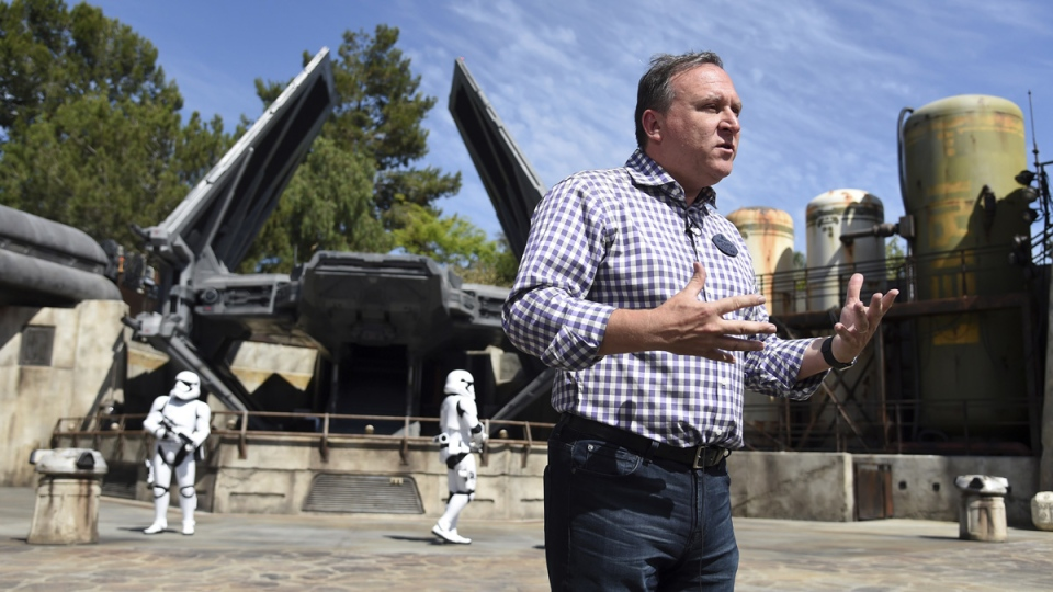 Scott Trowbridge, Portfolio Creative Executive for Walt Disney Imagineering, discusses Star Wars: Galaxy's Edge during the media preview for the new land at Disneyland Park, on May 29, 2019. (Chris Pizzello / Invision / AP)