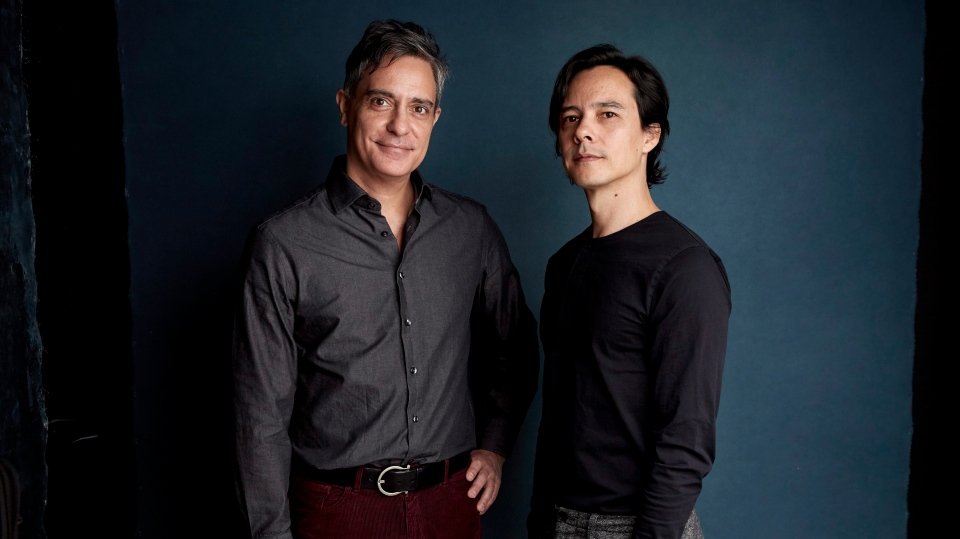 "Producer Roland Ballester, left, and writer/director Frederic Tcheng pose for a portrait to promote the film ""Halston"" at the Salesforce Music Lodge during the Sundance Film Festival on Friday, Jan. 25, 2019, in Park City, Utah. (Photo by Taylor Jewell/Invision/AP)"