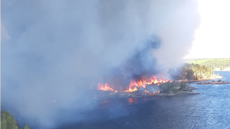 A forest fire is affecting Pauingassi First Nation in northeastern Manitoba. Photo courtesy of the Province of Manitoba