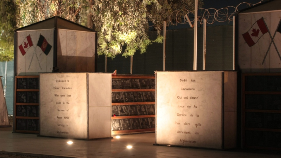 The memorial to the Canadian killed on the Afghan mission is seen at Kandahar Airfield, Afghanistan, on April 28, 2011. THE CANADIAN PRESS/ Colin Perkel