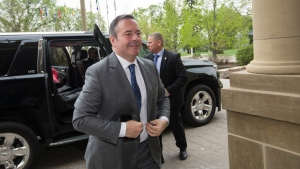 Premier Jason Kenney arrives to a meeting with Alberta NDP Leader Rachel Notley and senators in Edmonton, Alta., on Thursday, May 23, 2019. THE CANADIAN PRESS/Amber Bracken