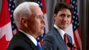 Canadian Prime Minister Justin Trudeau listens as U.S. Vice-President Mike Pence makes his opening statement during a joint news conference in Ottawa, Thursday, May 30, 2019. THE CANADIAN PRESS/Adrian Wyld