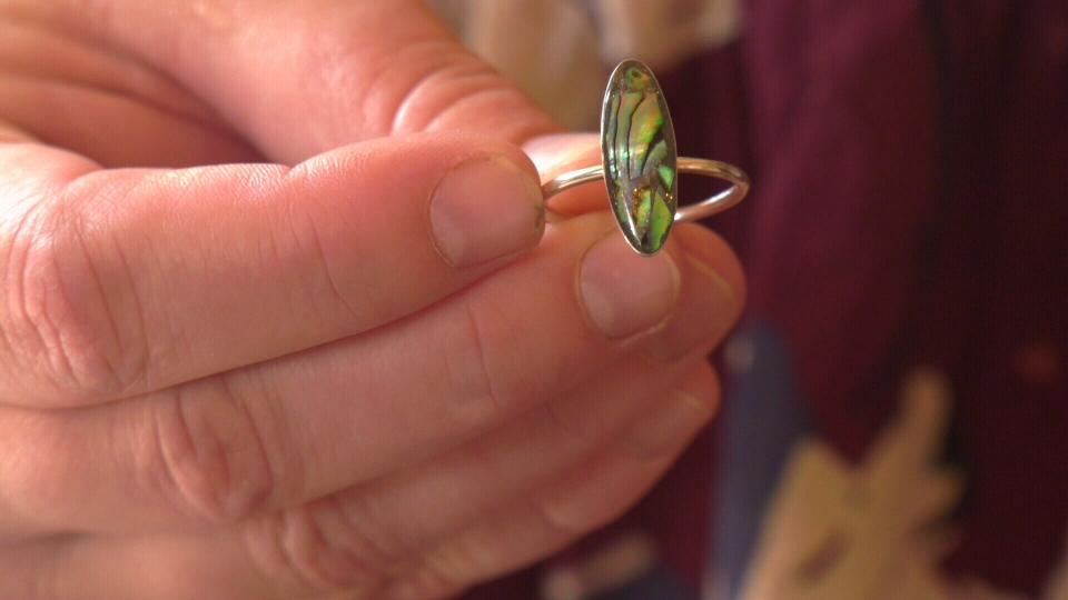 The ring McMullen created from the ashes of her grandfather. (CTV Vancouver Island)
