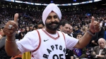 Toronto Raptors superfan Nav Bhatia checks out the action before Game 1 of the NBA Finals between the raptors and the Golden State Warriors in Toronto on Thursday, May 30, 2019. THE CANADIAN PRESS/Frank Gunn