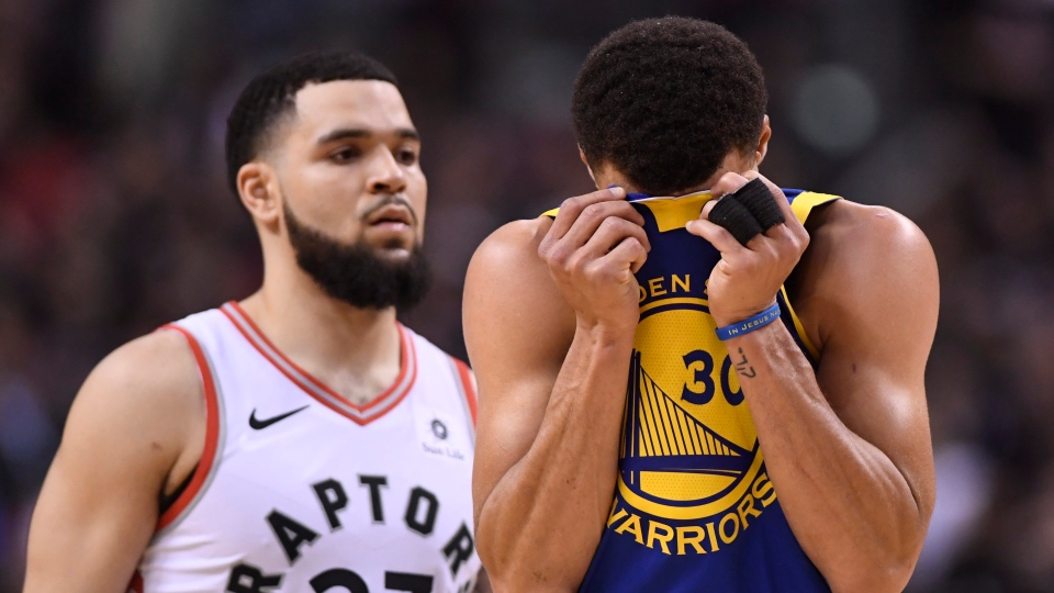 Golden State Warriors guard Stephen Curry (30) reacts during second half basketball action in Game 1 of the NBA Finals against the Toronto Raptors in Toronto on Thursday, May 30, 2019. THE CANADIAN PRESS/Frank Gunn
