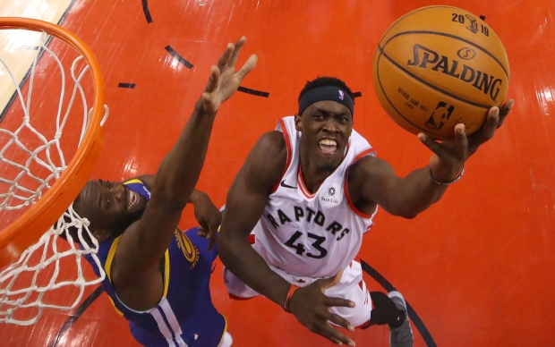 Toronto Raptors Pascal Siakam drives to the hoop against the Golden State Warriors during game 1 of the NBA Finals in Toronto on Thursday May 30, 2019. THE CANADIAN PRESS/Frank Gunn