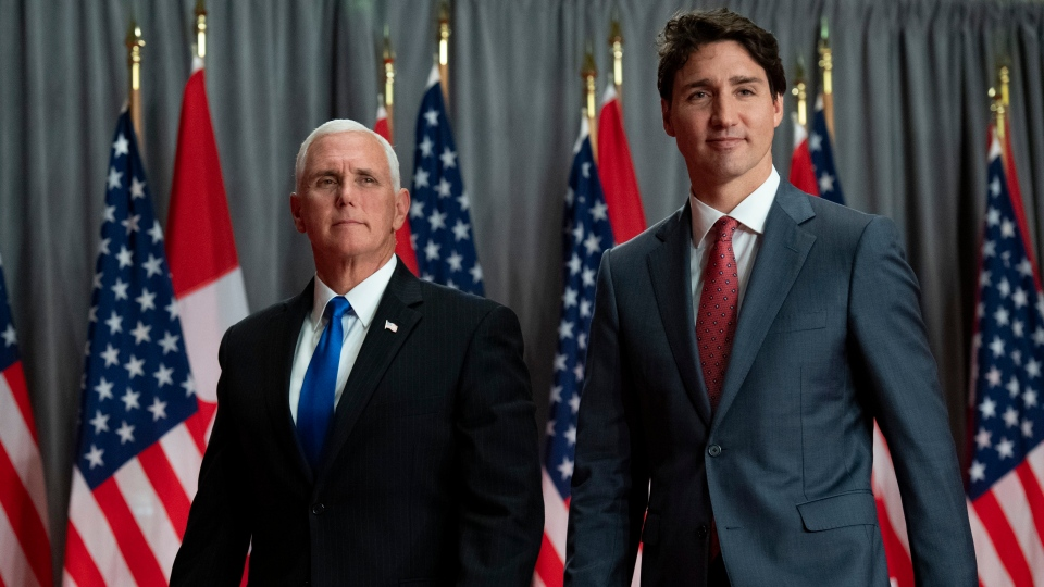 Prime Minister Justin Trudeau and U.S. Vice-President Mike Pence leave a joint news conference during a visit in Ottawa on Thursday, May 30, 2019. THE CANADIAN PRESS/Justin Tang