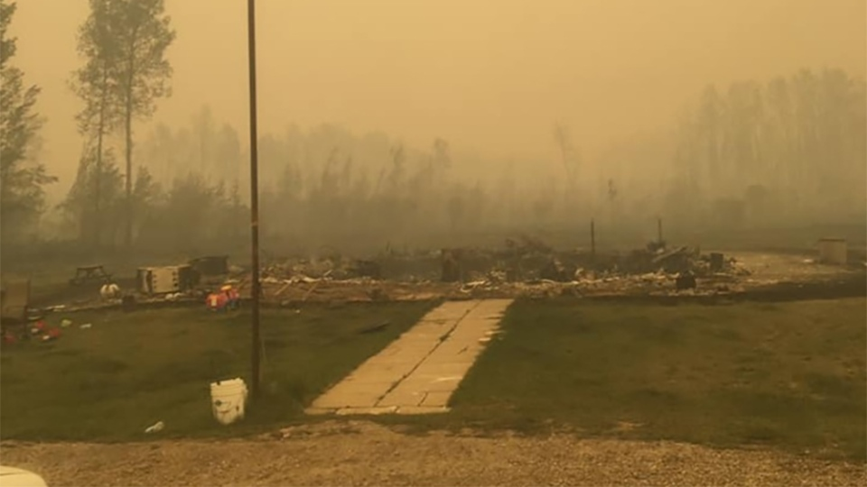 Photos posted to social media by Pudgin Wanuch show the destruction of one of the homes at the Paddle Prairie Metis Settlement.