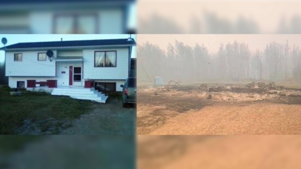 A before and after shot of a home at the Paddle Prairie Metis Settlement. (SOURCE: DARLA MARIE)