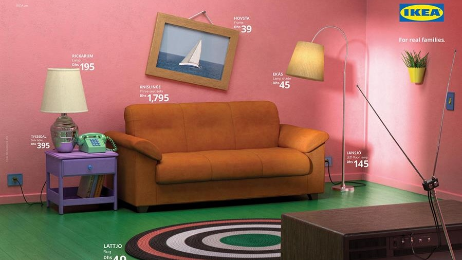 """The living room that is obviously inspired by """"The Simpsons"""" is called the """"Room for families. (Ikea)"""