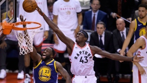 Toronto Raptors forward Pascal Siakam (43) rejects Golden State Warriors forward Draymond Green (23) during second half NBA championship basketball finals action in Toronto on Thursday, May 30, 2019. THE CANADIAN PRESS/Nathan Denette