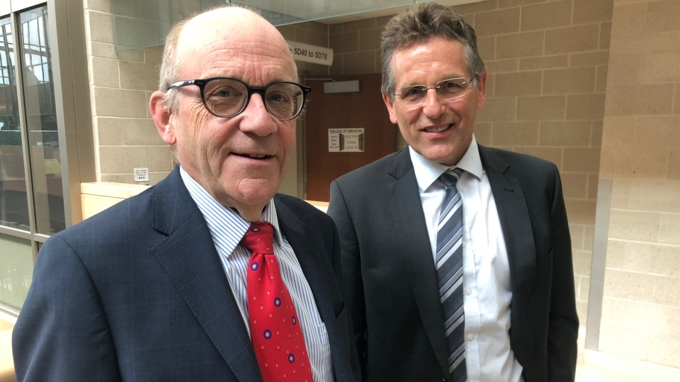 College of Medicine dean Preston Smith, left, and Dr. Ron Siemens are pictured in this file photo. (Francois Biber/CTV Saskatoon)