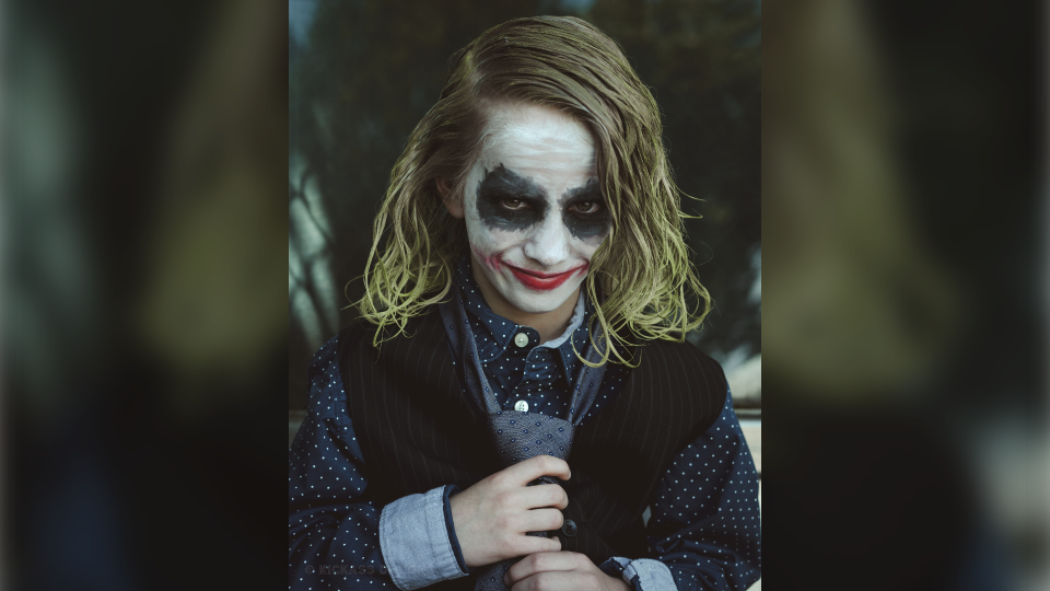 Race Young poses as the Joker from the Batman film The Dark Knight. (Lance Reis)