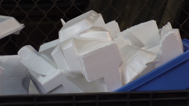 Styrofoam containers for recycling are seen in Walkerton, Ont. on Friday, May 31, 2019. (Scott Miller / CTV London)