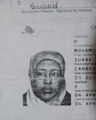 Suaad Hagi Mohamud's passport image is seen in a photocopy provided by her lawyer Raoul Boulakia.