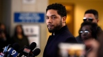 In this March 26, 2019 file photo, Actor Jussie Smollett talks to the media before leaving Cook County Court after his charges were dropped, in Chicago. (AP Photo/Paul Beaty, File)