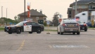 Police cruisers are seen in the Zehrs parking lot on Towerline Road in Fergus after OPP responded to reports of an injured male on May 31, 2019 (CTV Kitchener)