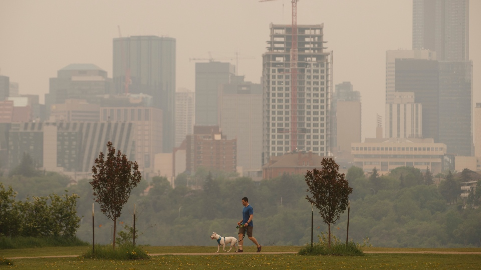 A person walks their dog as smoke blankets the city from nearby wildfires, in Edmonton on Thursday, May 30, 2019. THE CANADIAN PRESS/Jason Franson