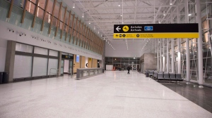 In this file photo, the arrivals area inside the Jean-Lesage international airport in Quebec City is seen on Thursday, November 16, 2017 . THE CANADIAN PRESS/Jacques Boissinot
