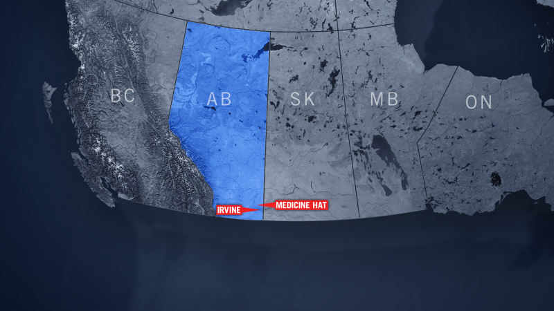 Irvine, Alta., can be seen on this map of Canada.