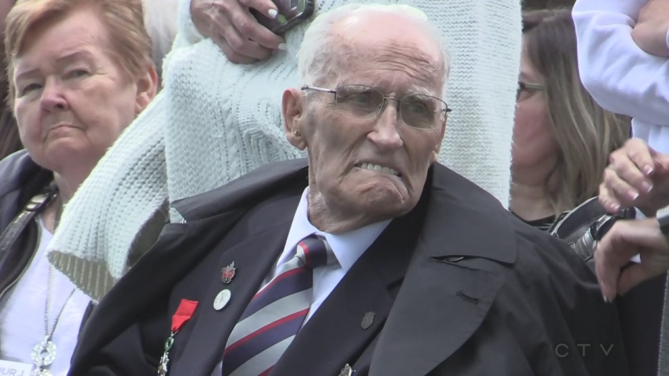 Phillip Cockburn, 96, attends a ceremony to mark the 75th anniversary of D-Day.