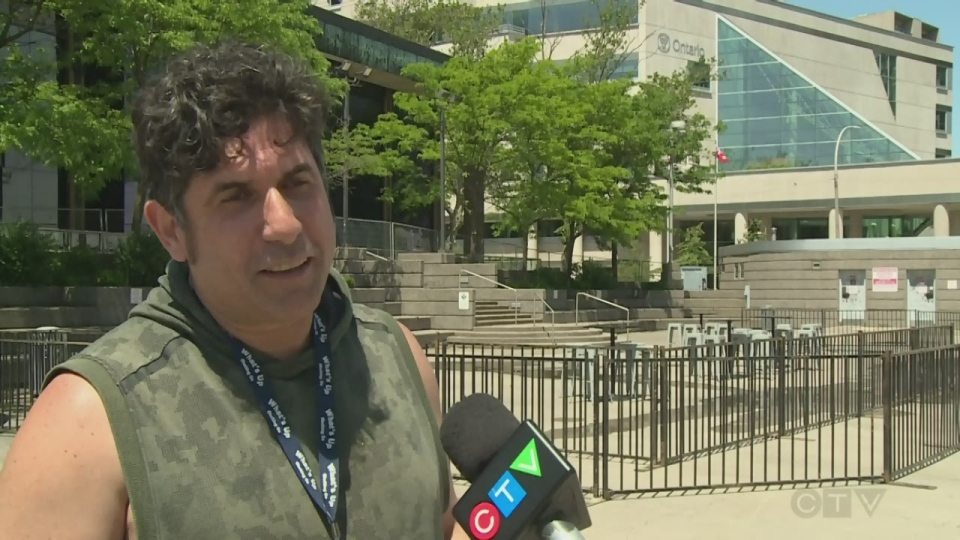 Renaldo Agostino, an organizer Jurassic Park Windsor, talks about preparations at the venue ahead of Game 2 of the NBA final on Sunday, June 2, 2019.