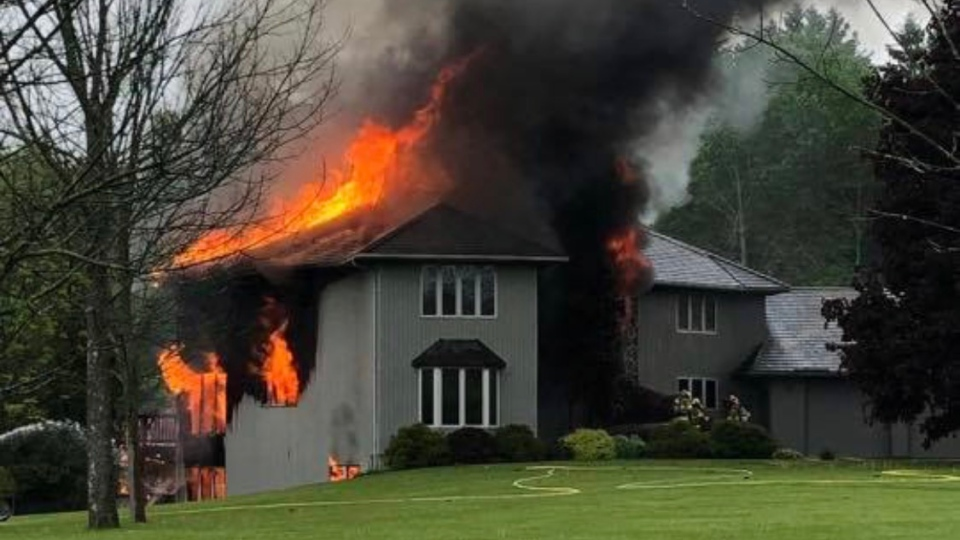 Massive house fire believed to be sparked by lightning