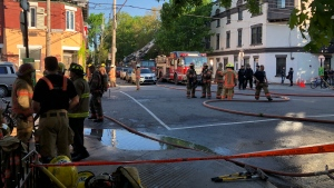 At least one person was taken to hospital following a fire in the Ville Marie borough on the morning of Mon., June 3, 2019. (Photo: JL Boulch/CTV Montreal)