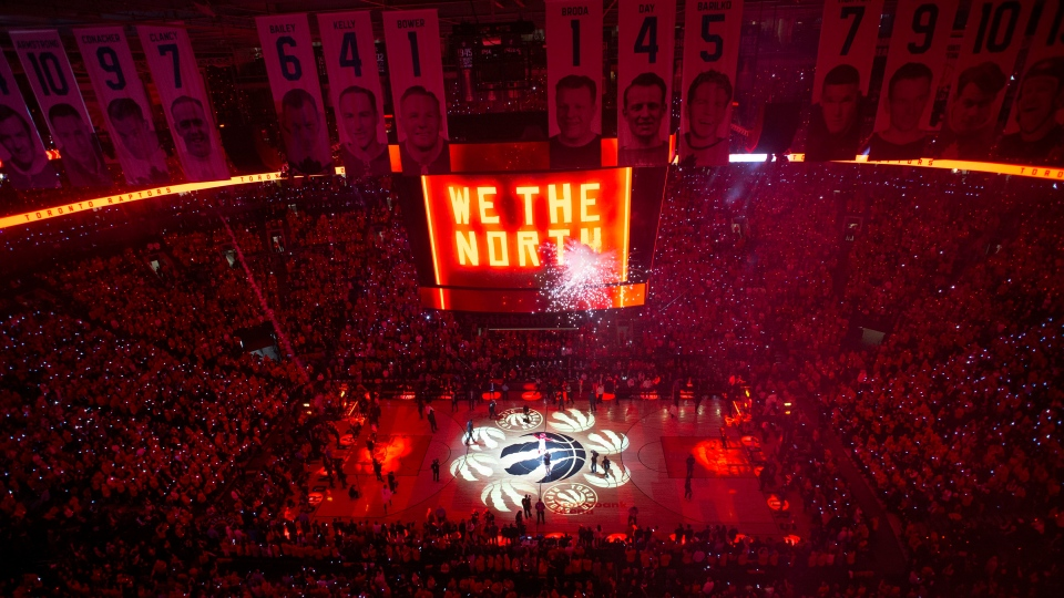 The court is illuminated at Scotiabank Arena ahead of the first half of Game 2 of the NBA Finals between the Toronto Raptors and the Golden State Warriors in Toronto on Sunday, June 2, 2019. (THE CANADIAN PRESS/Chris Young)