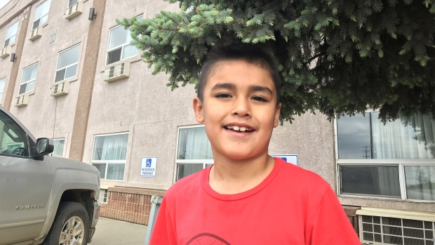 Nathan, 7, and his mother Emily are two of the evacuees from the Peerless Trout First Nation who are in Edmonton. (DAVID EWASUK/CTV EDMONTON)