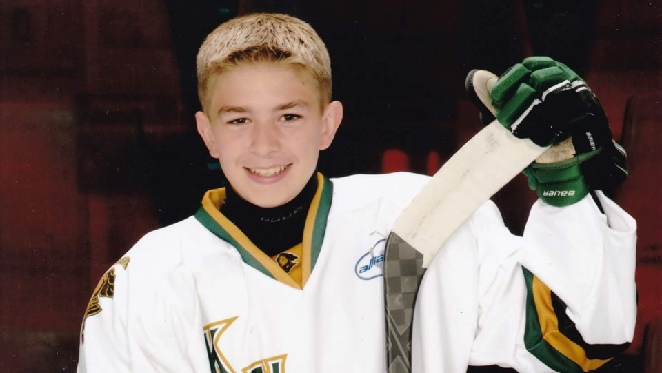 Brandan Barnett is seen in the last hockey photo taken before he contracted Lyme Disease at age 12.