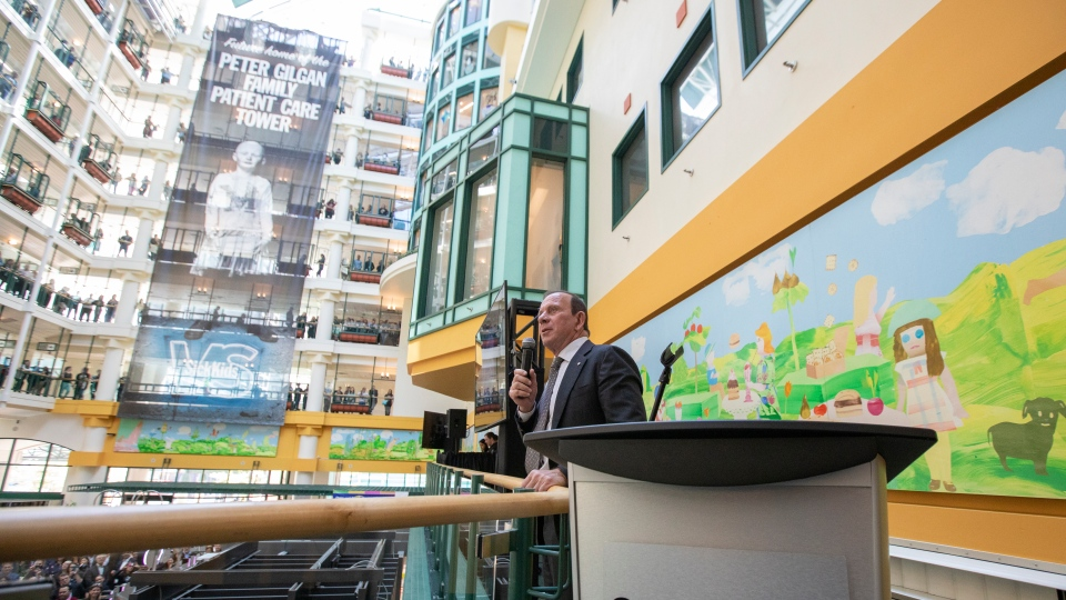Homebuilder Peter Gilgan speaks at the announcement of his $100-milion gift to SickKids Hospital in Toronto. (Photo courtesy Carlos Osorio/ SickKids Foundation)