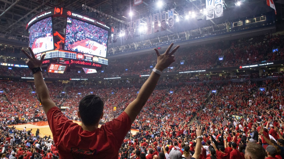Toronto Raptors fans react during the first half of Game 2 of the NBA Finals between the Raptors and the Golden State Warriors in Toronto on Sunday, June 2, 2019. THE CANADIAN PRESS/Chris Young