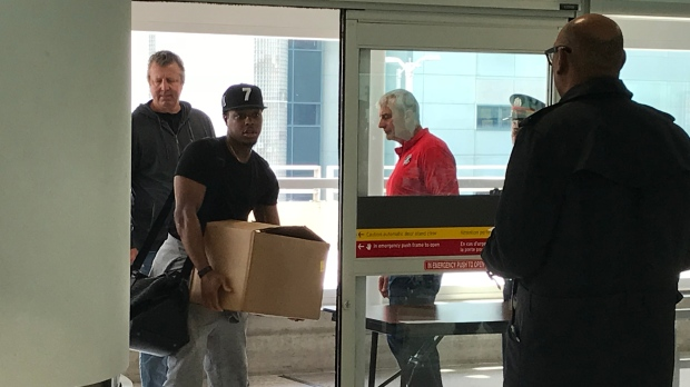 Kyle Lowry is seen at Pearson Airport on June 3, 2019.