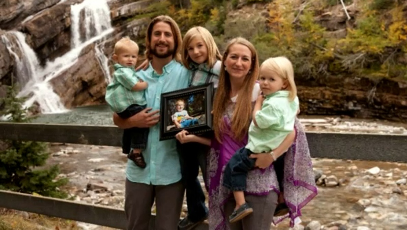 David and Collet Stephan appear in an undated photo with their children and an image of Ezekiel (supplied)