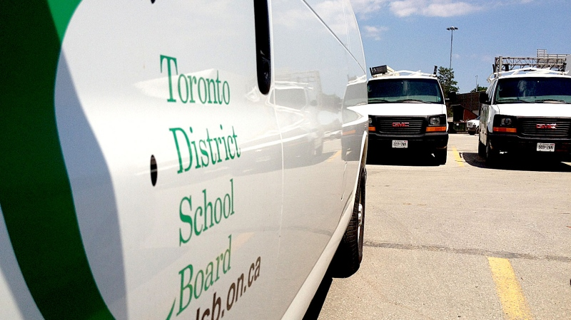 Toronto District School Board service vans and trucks sit idle in a parking lot in this file image. (Corey Baird/CTV Toronto)
