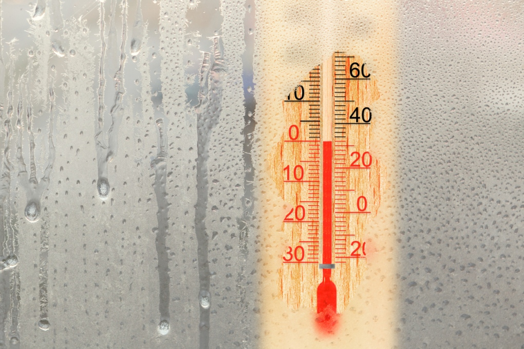 low thermometer cold rainy window