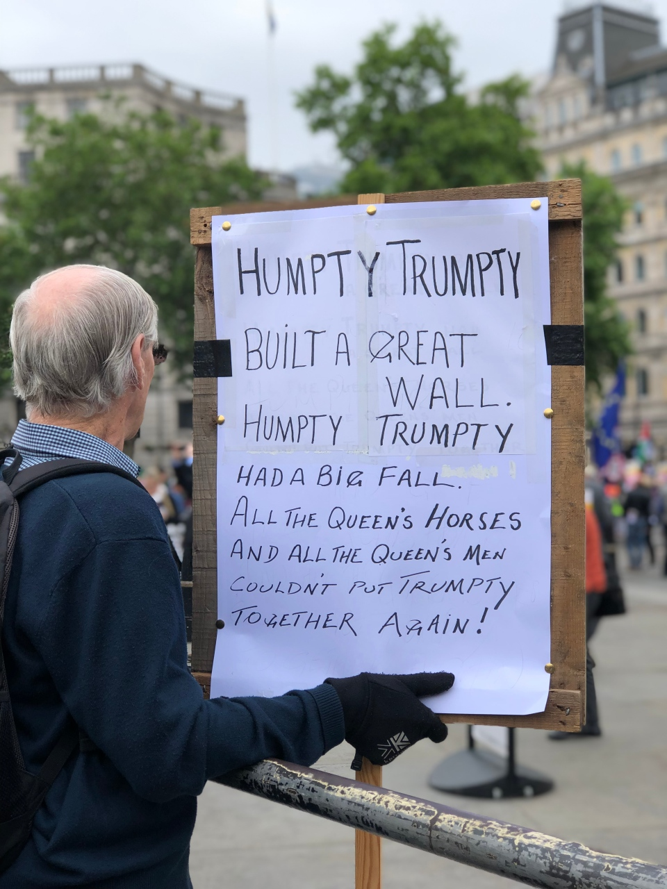 An anti-Trump protester in London holds a placard during President Trump's state visit to the U.K. on June 4. (Rosa Hwang, CTV National News Executive Producer)