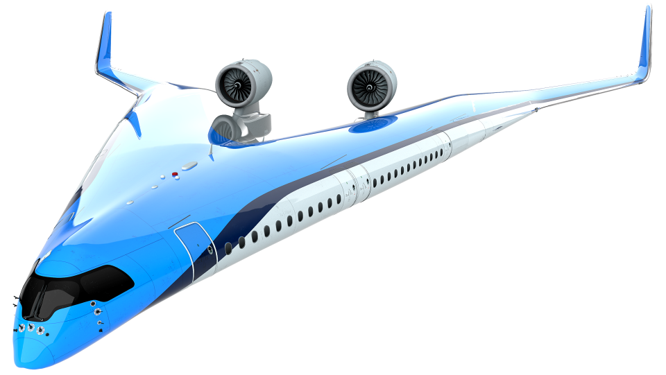 Dutch airline KLM has teamed up with Delft University of Technology in a bid to design a more fuel-efficient long distance plane in the shape of the letter 'v.' (Edwin Wallet at Design OSO, TU Delft)