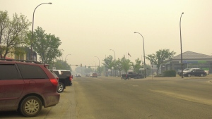 Smoky street in Slave Lake, Alberta on May 31, 2019.